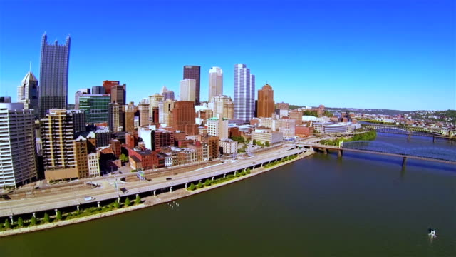 Aerial video view of the downtown, road and river video