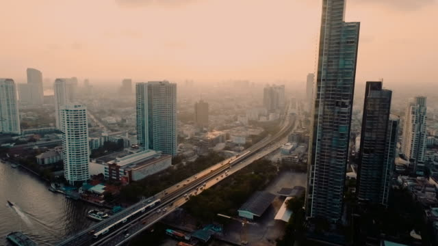 Aerial view Bangkok riverside in the evening video