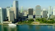 Aerial view Bayfront Park,  Miami video