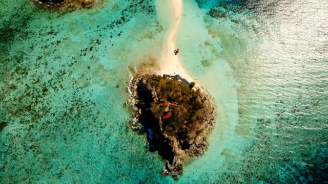 Aerial view beautiful beach on a tropical Bulog Dos Island. Philippines video