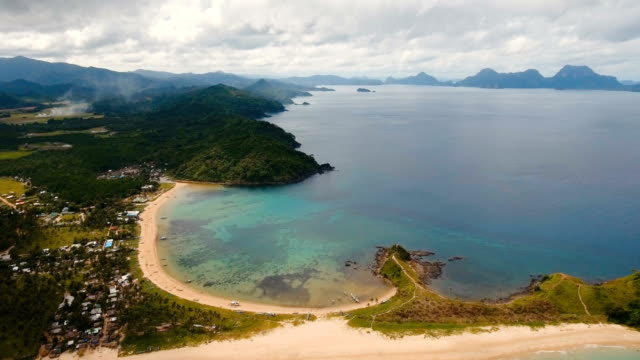 Aerial view beautiful beach on a tropical island. Philippines, El Nido video