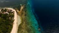 Aerial view beautiful beach on tropical island. Mantigue island Philippines video