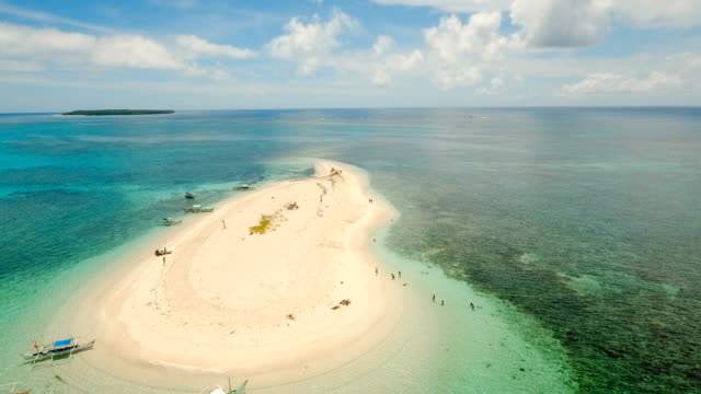 Aerial view beautiful beach on tropical island. Siargao island, Philippines video