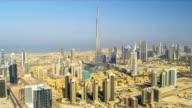 Aerial view Burj Khalifa  downtown Dubai video
