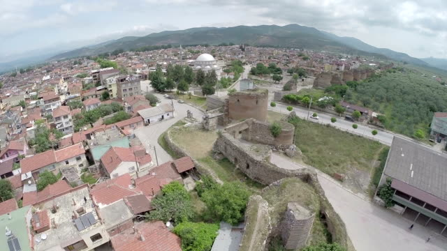 Aerial view Citywalls and Gate of Nicea (Iznik) video