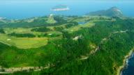 Aerial View Coastal Golf Course Hong Kong video