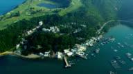 Aerial View Coastal Town Hong Kong video