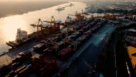 Aerial view Container ship in the harbor in Asia video
