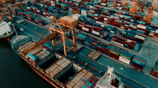 Aerial view container ships  harbor video