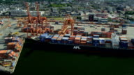 Aerial view container ships Vancouver harbour video
