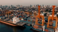 Aerial view container ships video