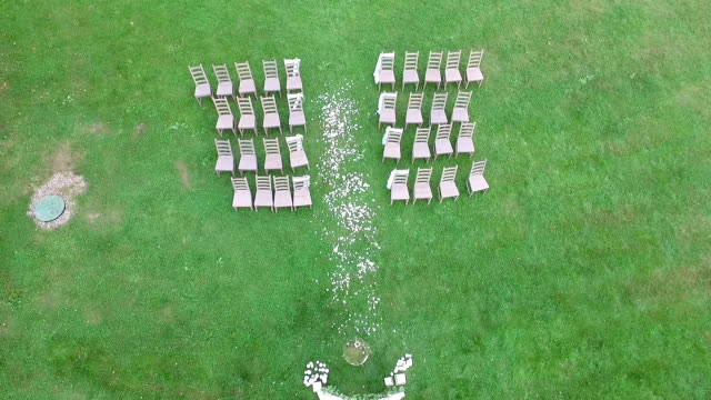 aerial view decorated wedding arch rustic style video