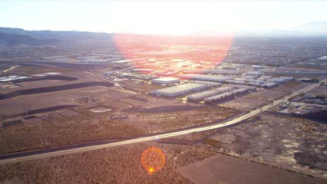 Aerial view desert development land and commercial property, USA video