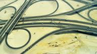 Aerial view desert expressway interchange  Dubai video