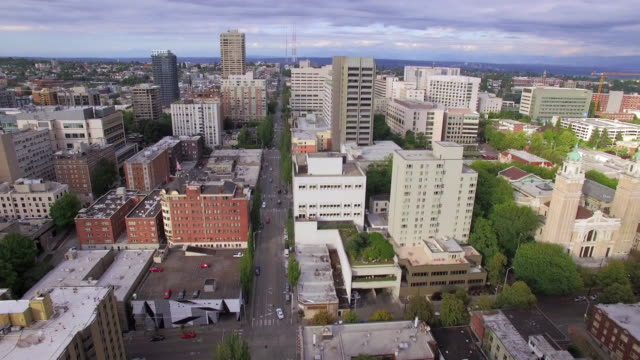 Aerial View Floating Above Downtown City Streets with Tall Apartment Buildings video