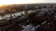 Aerial View Flying Over Big Ben feat British Flag 4K video