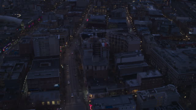 Aerial View flying over downtown Vancouver at sunset video