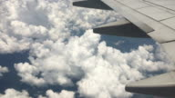 Aerial view from airplane flying over clouds and land from high attitude video