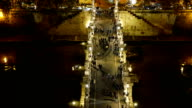Aerial view from Angels Castle over the beautiful pedestrian bridge Sant Angelo in Rome video