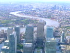 Aerial view from Canary Wharf to London. NTSC, PAL video