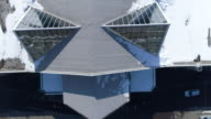 Aerial view glass roof and parking video