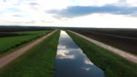 Aerial view green land and small river video