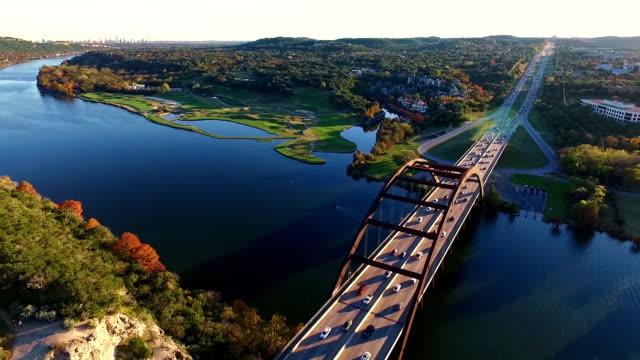 Aerial View High Over the 360 Bridge or Pennybacker bridge The Local Austin Landmark video