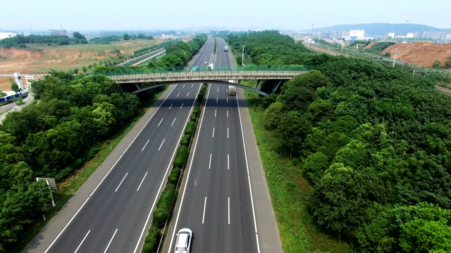aerial view Highway road traffic video