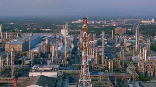 Aerial view industry oil and gas refinery of Thailand video