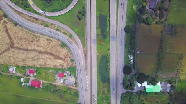 Aerial view Interchange Highway, crossroad video