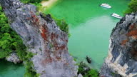 aerial view islands in Phang Nga gulf video