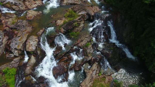 Aerial view kra chong Waterfall, Trang south Thailand video