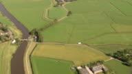 HD aerial view landscape; farmland, grassland, meadow, farm, agriculture, river video