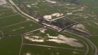 Aerial view landscape; farmland, grassland, meadow, farm, agriculture, river video