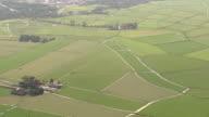 HD aerial view landscape, farmland, grassland, meadow, farms, agriculture, river video