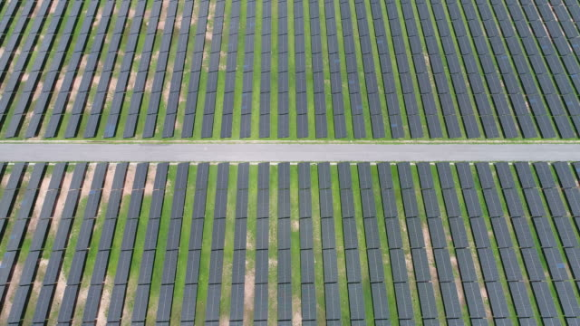 Aerial view large industrial Solar power Energy Farm video