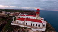 Aerial View lighthouse and cliffs at Cape St. Vincent at sunset. Sagres, Algarve, Portugal. video