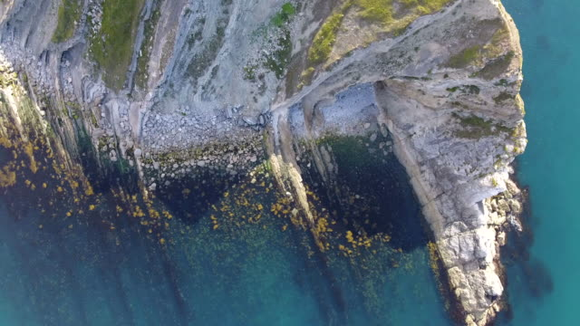 Aerial view looking down onto cliffs video