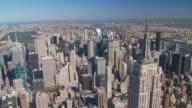 aerial view midtown manhattan central park video
