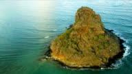 Aerial view Mokolii, Kaneohe Bay, Hawaii video