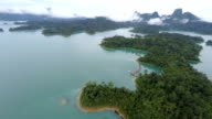 aerial view mountain and water video