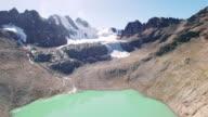 4K aerial view mountain glacier lake bolivia pico austria video