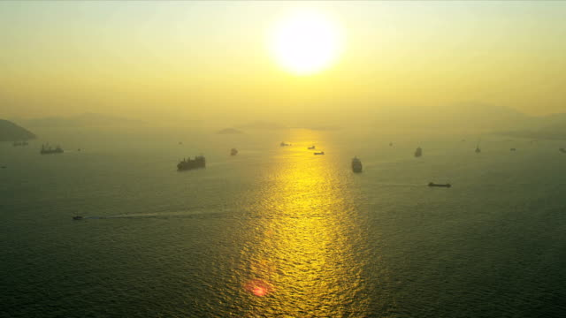 Aerial View Nautical Vessels Sunset Hong Kong video