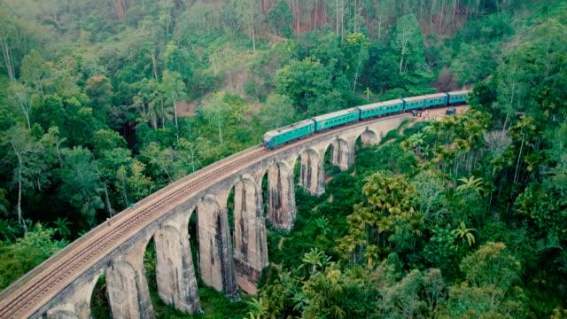Aerial view Nine Arch Bridge in Sri Lanka video
