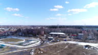 Aerial view o stadium and town video