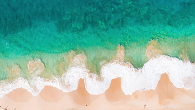 Aerial View Ocean Waves Crashing On Tropical White Sand Shoreline video