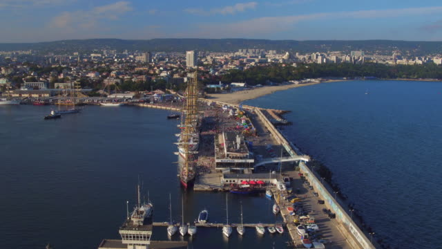 Aerial view of a cargo dock and harbor Varna, Bulgaria video