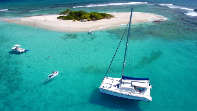 Aerial view of a catamaran at Sandy Spit, BVI video