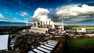 Aerial View of a Coal Fired Power Station video