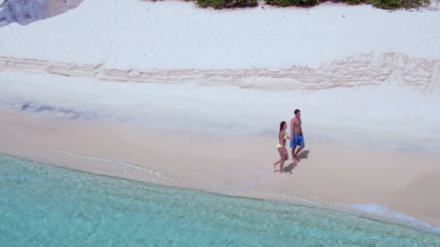 Aerial view of a couple walking on a tropical beach video